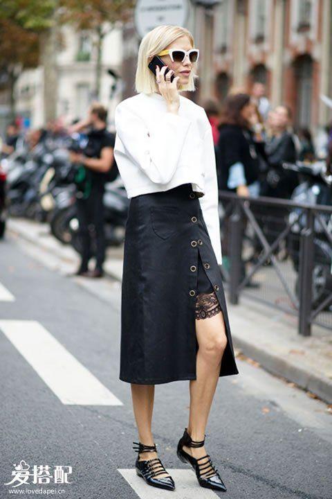 秋季会穿wrap skirt(裹身裙)的女人,特别的优雅显高!